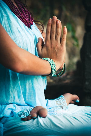 closeup of woman hands practice yoga  in lotus position outdoor shot Stock fotó