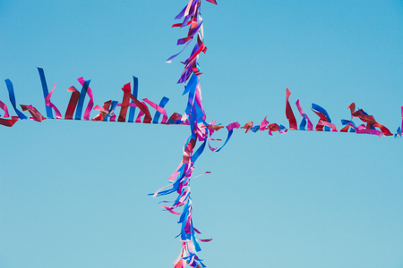 colorful paper decoration stretched above the street  ready for carnival