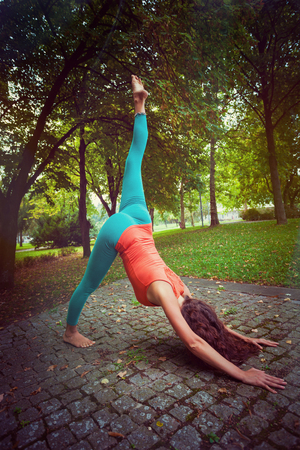 full shot: young woman practice yoga in nature in park by the tree full body shot