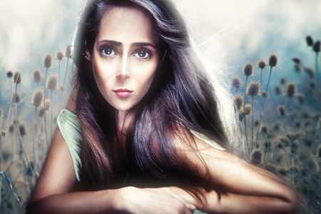 young beautiful woman portrait in anime style composite photo photo