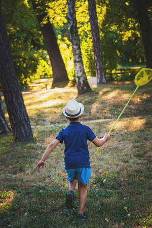 little boy with hat and butterfly net run in wood or park back view summer day