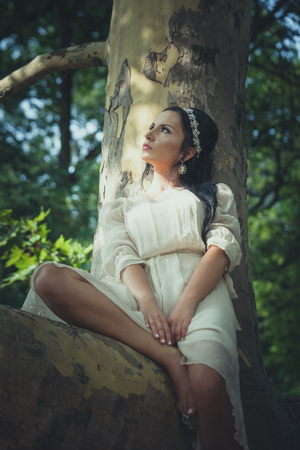 pretty young woman in romantic dress sit on tree in wood summer day