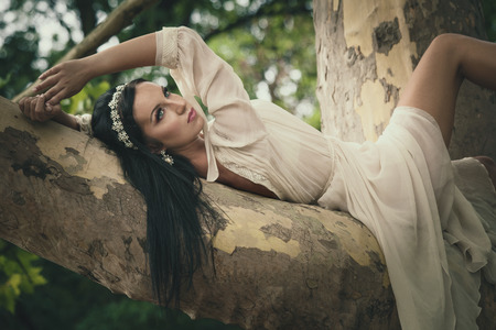pretty young dark hair  woman in romantic dress lie  on tree in wood or park summer day