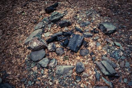 abandoned fireplace  in the woods closeup Lizenzfreie Bilder
