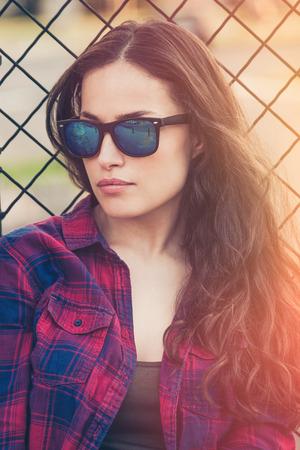 attractive urban  young woman outdoor portrait with sunglasses  Lizenzfreie Bilder