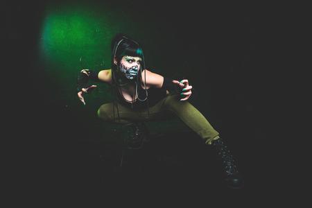 scary cyber skeleton woman studio shot Lizenzfreie Bilder