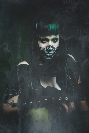 scary assasin undead woman studio shot