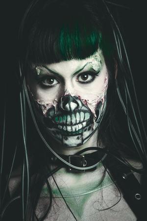 scary cyber skeleton woman studio shot closeup