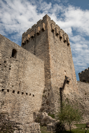 the walls and tower of the old fortress background texture