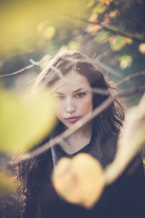 beautiful young woman autumn portrait through yellow leaves outdoor day shot 写真素材