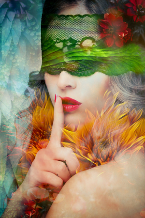 fantasy beautiful woman silence gesture portrait composite photo
