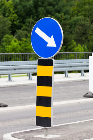 notification sign  changes direction of movement due to works on road