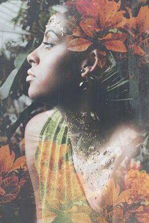 young black woman fantasy portrait double exposure Banque d'images