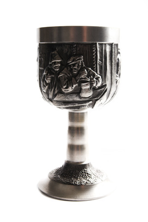 pewter mug: Old silver wine cup on white Stock Photo