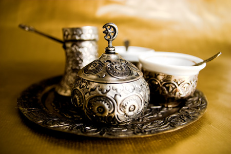 Anique Turkish coffee set on gold background