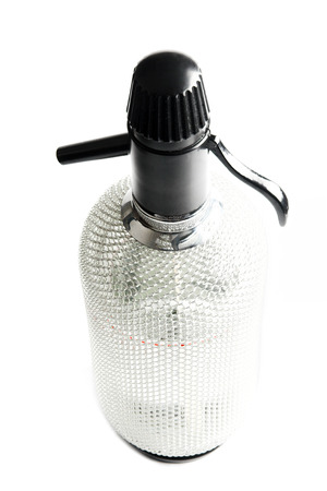 Kitchen equipment that was used to make soda water (carbonated water) mainly for spritzer (a cocktail made with white wine and soda water) Stock Photo