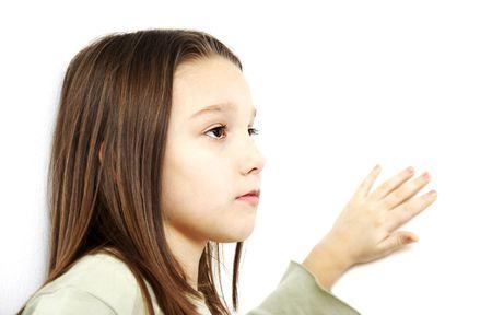 highkey: Beautiful high-key girl on white background Stock Photo