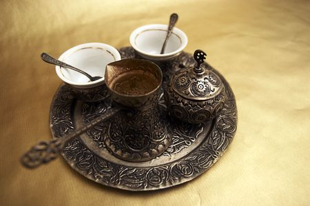 Antique set for turkish coffee