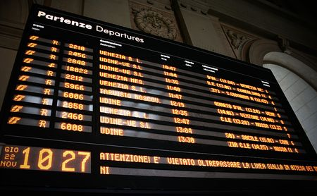Train departures board on the railroad station
