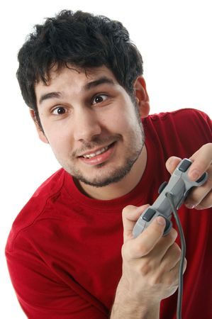 Man holding a game controller, isolated on white