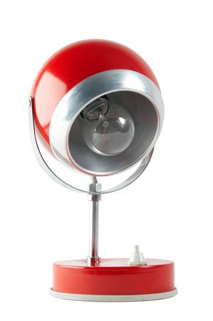 Retro red table lamp isolated on white background with clipping path Stock Photo