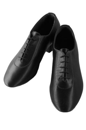 sateen: Men ballroom latin dancing black sateen shoes