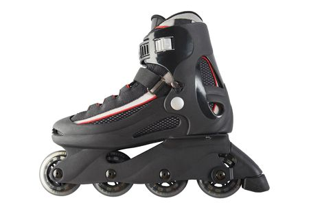Single inline skate on white background with clipping path