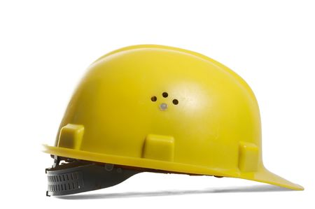 Yellow hardhat on white background, with clipping path Stock Photo - 2940991