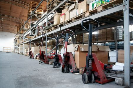 Old warehouse with shelves and boxes