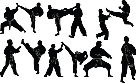 kungfu: karate silhouette collection - vector