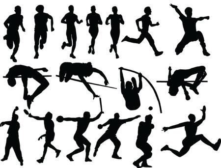lanzamiento de disco: atletismo colecci�n silueta - vector Vectores