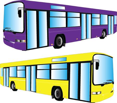 autobus 2 silhouette - vector Vector