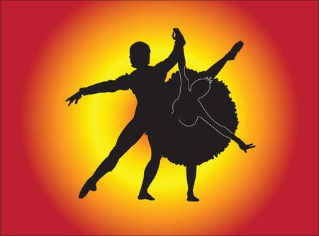 lyrical dance: ballet couple - vector Illustration
