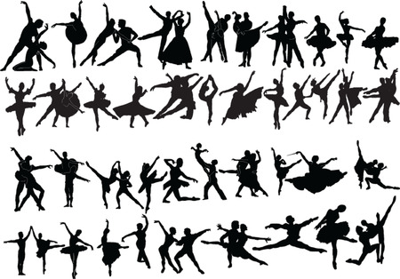 big collection of ballet dancers - vector