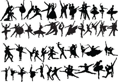 grande collection de danseurs de ballet - vecteur