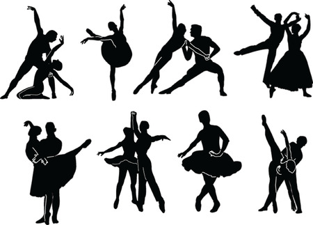 modern dancers: ballet collection - vector
