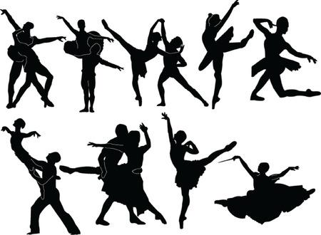 lyrical dance:  ballet silhouette collection - vector