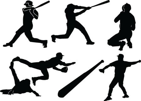 toss: baseballs silhouette collection - vectorart,