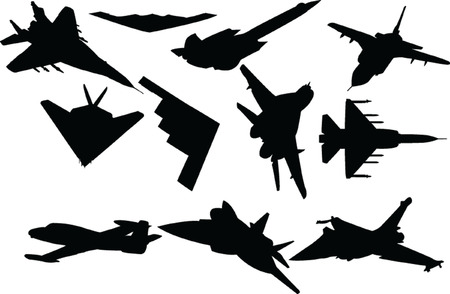 battle airplanes collection Vector