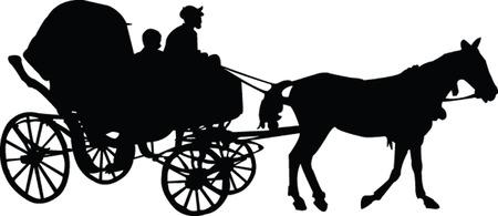 barouche silhouette - vector