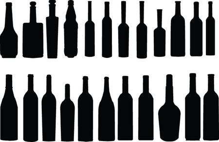 alcohol bottles: bottle collection - vector