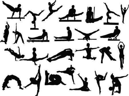 acrobacia: gimnasia colecci�n - vector
