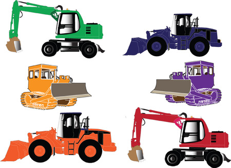 lift trucks: construction machines collection - vector