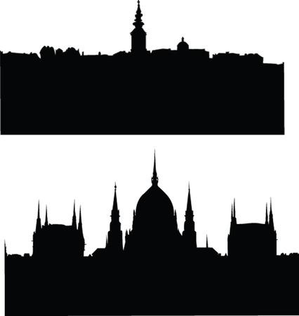 serbien:  Panorams der Stadt Silhouette - Vektor