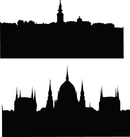 serbia:  panorams of citys silhouette - vector