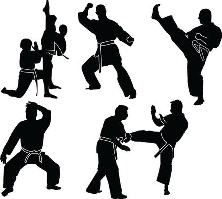 практика:  karate silhouette collection - vector
