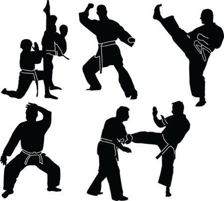 practices:  karate silhouette collection - vector