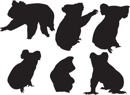 wilderness: koala silhouette collection - vector