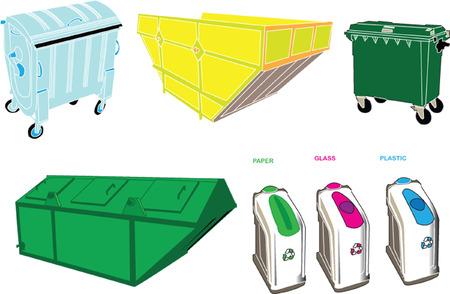 separacion de basura: contenedores de recogida - vector