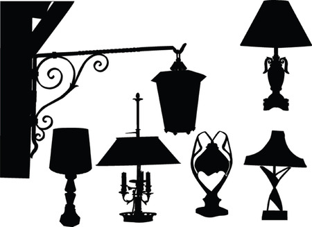 irradiate: lamps silhouette - vector